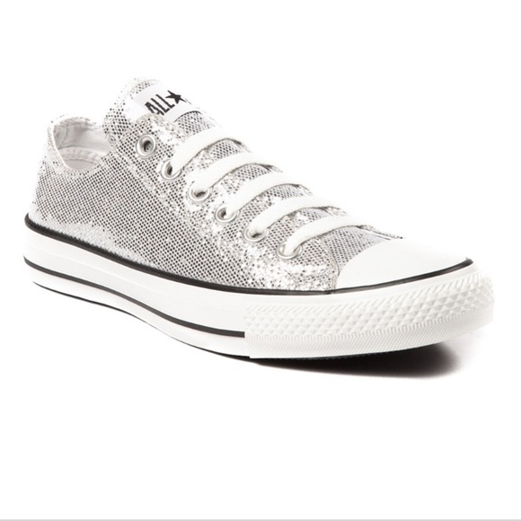 Converse Shoes - New Sparkly Converse low tops silver b93b4f76df